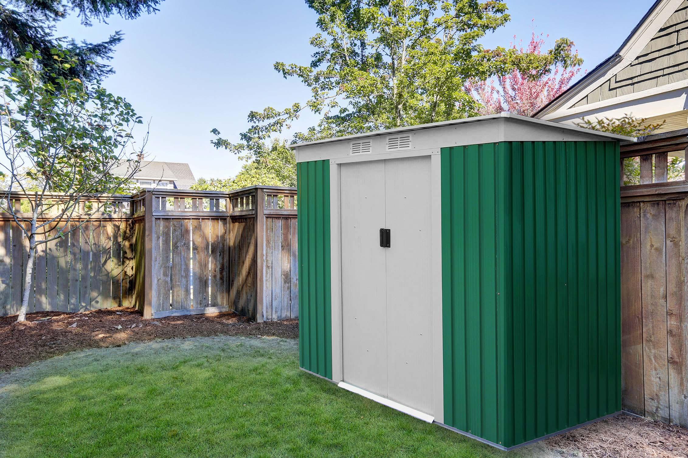 Caseta jard n met lica gardiun buckingham verde 2 43 m for Caseta metalica jardin